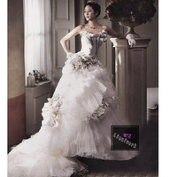 Affordable Unique White Layer Modern Formal Wedding Bridal Gowns SKU-119034