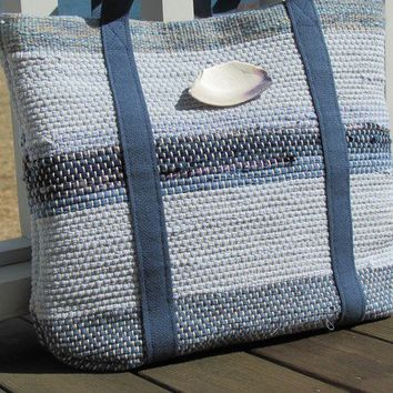 Hand Bag, Handwoven Cotton Recycled Rag, Deep Blue Bay Tote Purse, Cabin, Cottage Chic Summer Winter Beach Style, Ocean