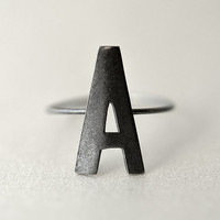 Dark Matte Silver Letter Ring - Choose between all letters from A to Z