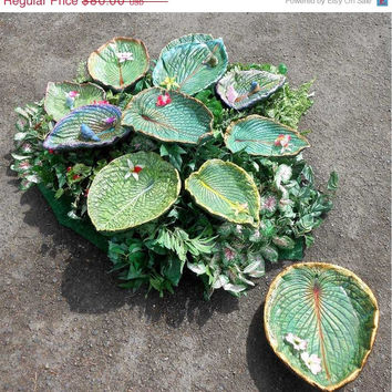 "EARLY BIRD Sale - Garden Art - Perfect for Mom - XL Hosta Bird Bath / Bird Feeder / Indoor Bowl (Leaf 5194, 15 x 12.5"") Flat-bottom bowl Onl"