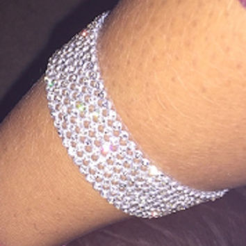 "7"" silver crystal choker anklet .75"" wide 6 row"