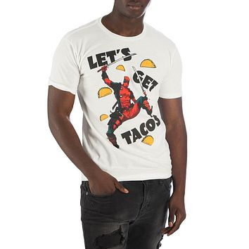 MPTS Deadpool Let's Get Tacos Men's White T-Shirt Tee Shirt