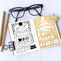 Planner Stencil, Bullet Journal Stencil, Banner and Flag Stencil - fits pocket, passport and field  note (Banner S)