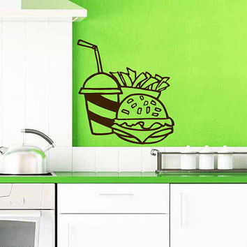 Cheeseburger With Drink And French Fries Vinyl Decal Wall Sticker Art Design Kitchen Cafe Room Bedroom Nice Picture Home Decor Hall ki106
