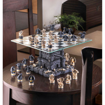 Ultimate Table Top Fantasy Dragons & Castle Board Game Chess Set w/ Glass Board
