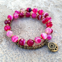 grounding, faceted Pink agate 27 bead wrap mala bracelet™, wrist mala, yoga jewelry