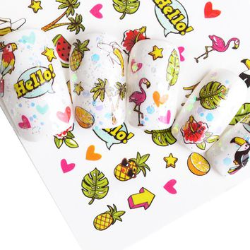 1 Sheet Flanmigo Pineapple Watermelon Summer Partten Nail Art Water Transfer Sticker Nail Art Decoration Decal Manicure  BEWG291