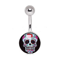 316L Surgical Steel Pale Blue Sugar Skull Navel Ring
