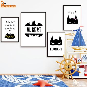 Superhero Batman Wall Art Canvas Painting Nordic Posters And Prints Black And White Cartoon Wall Pictures Baby Kids Room Decor