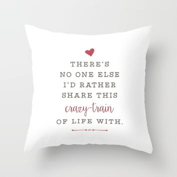 Crazy-Train of Life  Throw Pillow by HopSkipJumpPaper
