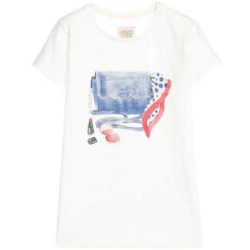 Armani Junior Girls Ivory 'Accessories' Printed T-shirt