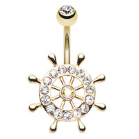 Golden Colored Sparkle Anchor Wheel Belly Button Ring