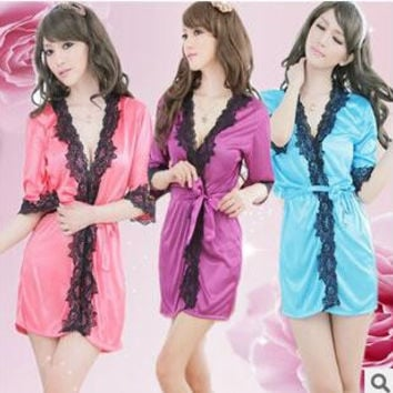 Sexy lingerie Sexy Lace Cardigans Sleeve Lace Ms Bathrobes Pajamas + T pants