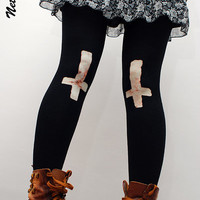 Black eco friendly full length leggings with crosses motif