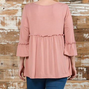 Mauve Empire-Waist Tunic - Plus