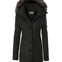 LE3NO Womens Classic Fleece Coat Jacket with Detachable Faux Fur Hoodie