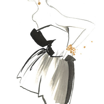 The Sophisticate, original watercolor and pen fashion illustration by Jessica Durrant