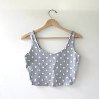 Vintage polka dot bandeau top. cropped tank top. bra top.
