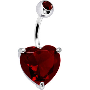 January 14mm Heart Solitaire Birthstone Belly Ring | Body Candy Body Jewelry