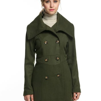 ACEVOG Envelope Collar Wool Blend Trench Coat