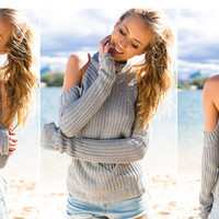HOT CUTE HIGH COLLAR OFF SHOULDER SWEATER