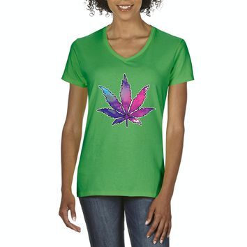 Artix Marijuana Leaf Galaxy Cannabis 420 Fashion Weed Pot People Women V-Neck T-Shirt Tee Clothes
