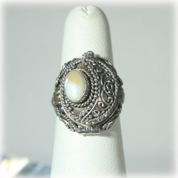 Large Moonstone Sterling Silver Poison Ring