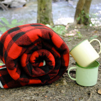 Throw Blanket in Wool- Cozy Throw in Red and Black Plaid- Rustic, Picnic Blanket (Great Guy Gift)