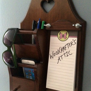 Entryway Wood Wall Organizer for holding keys, cell phones, mail, pens and sunglasses. Memo pad included. Great for keeping things handy!