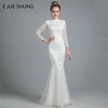 E JUE SHUNG White Vintage Thick Lace Mermaid Wedding Dresses 2018 High Neck Long Sleeves Wedding Gowns robe de mariee