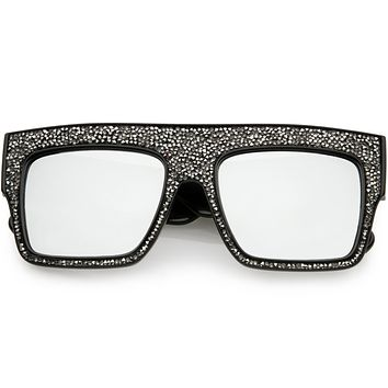 Women's Crystal Rhinestone Flat Top Mirrored Lens Sunglasses C880