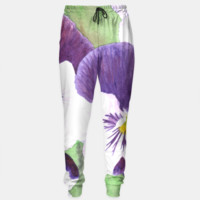 White and purple pansies flowers Sweatpants, Live Heroes