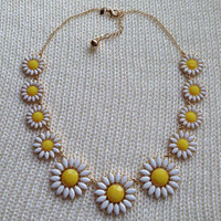 Gold Sunflower Necklace - Flower Statement Necklace