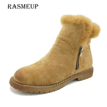 Genuine Leather Women's Snow Boots 2018 New Winter Woman Plush Fur Warm Flat Ankle Boots Zipper