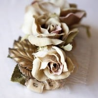 sepia floral hair comb by whichgoose on Etsy