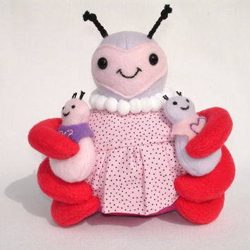 mama beetle plush toy retro pink apron and baby beetles with bibs