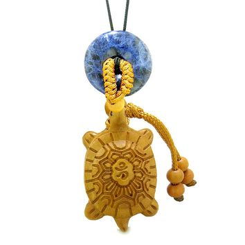 Good Luck Turtle Cute Car Charm or Home Decor Sodalite Lucky Coin Donut Protection Powers Magic Amulet