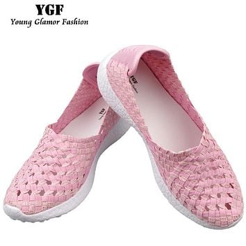 YGF Women Loafers Platform Casual Shoes Slip on Women Summer Flats Shoes Mesh Breathable Footwear Women Woven Shoes Multi Colors