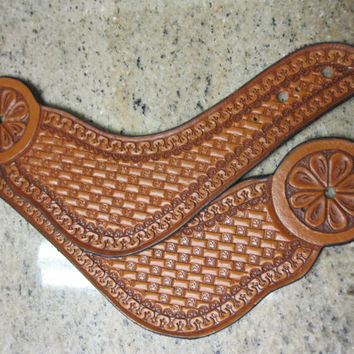 Leather Basketweave Stamped Buckleless Spur Straps