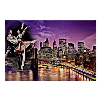 Dancing In The City Abstract Original Art Poster