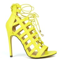 Mark and Maddux Common-14 Elastic Gladiator Sandals in Lime @ ippolitan.com