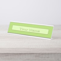 Green plaid pattern with text. desk name plate