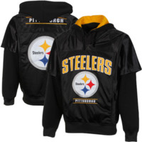 Pittsburgh Steelers The Drive Faux 2-Fer Pullover Jersey Hoodie - Black