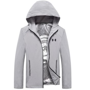 Under Armour Fashion Men Long Sleece Sweater Shirt Grey Coat