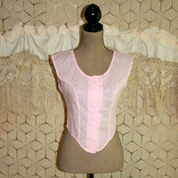 80s Crop Top Pink Eyelet Blouse Small Club Kid Hipster 1980s Clothing Light Pink Blouse Pink Tops for Women Vintage Clothing Womens Clothing