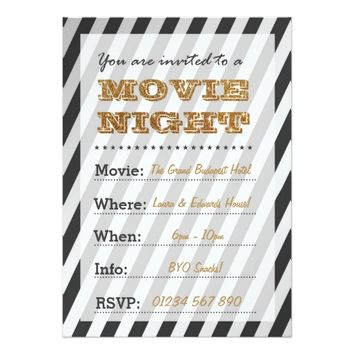 Glamorous Movie Night Invitation in Gold