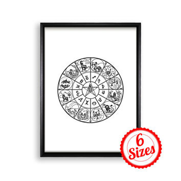 Digital Poster Print JPG Files - Zodiac Wheel - 18x24 / 11x17 / 8.5x11 / 8x10 / 5x7 / 4x6