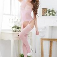 Stylish Women Mesh Hollow Out Lingerie Translucent Body Stocking Pink