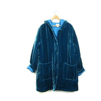 90s Velvet Coat Blue Green Button Up Long Velvet Jacket Modern Hooded Velvet Jacket Rayon Silk Quilted Coat with Pockets Womens Large