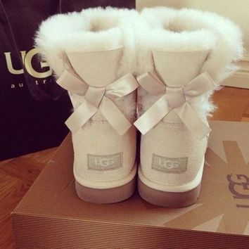UGG Women Popular A Bow Trending Fashion Winter Warm Wool Snow Boots Sand White I
